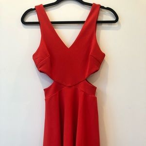 Red skater cut-out dress